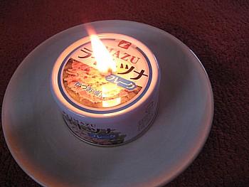 ツナ缶 オイル ランプ