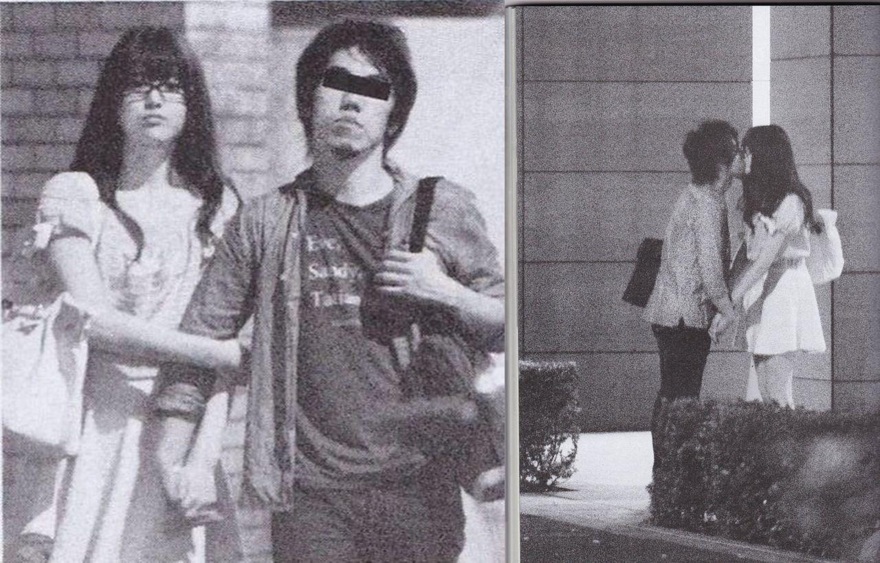 男性と腕組み路上キスする松村沙友理さん
